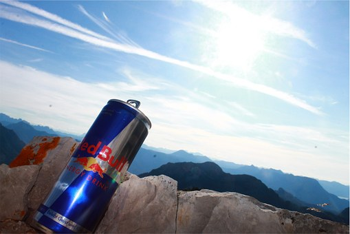 Redbull can on Mountain top